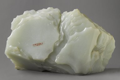"""<em>Jade """"Mountain,""""</em> 18th century. Nephrite, carved wood, without stand: 7 3/8 x 5 x 13 1/4 in. (18.7 x 12.7 x 33.7 cm). Brooklyn Museum, Anonymous gift, 77.204.1. Creative Commons-BY (Photo: Brooklyn Museum, 77.204.1_back_PS4.jpg)"""