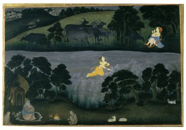 Indian. <em>Sohni Swims to Meet her Lover Mahinwal</em>, ca. 1775-1780. Opaque watercolor on paper, sheet: 10 5/8 x 15 1/8 in.  (27.0 x 38.4 cm). Brooklyn Museum, Gift of Dr. Bertram H. Schaffner, 77.208.2 (Photo: Brooklyn Museum, 77.208.2_IMLS_SL2.jpg)