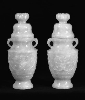 <em>Pair of Vases</em>, 20th century. Bronze, jadeite, each: 7 1/4 in. (18.4 cm). Brooklyn Museum, Gift of Lucile E. Selz, 77.209.1a-b. Creative Commons-BY (Photo: Brooklyn Museum, 77.209.1a-b_bw.jpg)