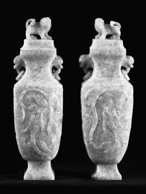 <em>Pair of Vases</em>, 20th century (probably). Jadeite, each: 4 1/2 x 2 in. (11.4 x 5.1 cm). Brooklyn Museum, Gift of Lucile E. Selz, 77.209.2a-b. Creative Commons-BY (Photo: Brooklyn Museum, 77.209.2a-b_bw.jpg)