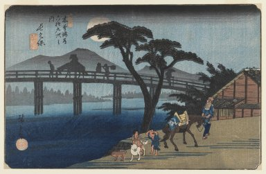 Utagawa Hiroshige (Ando) (Japanese, 1797-1858). <em>No. 28, Nagakubo, from the series The Sixty-nine Stations of the Kisokaidō Road</em>, ca. 1835-1838. Color woodblock print on paper, Image: 9 x 13 7/8 in. (22.9 x 35.2 cm). Brooklyn Museum, Gift of Paul F. Walter, 77.210 (Photo: Brooklyn Museum, 77.210_IMLS_PS3.jpg)