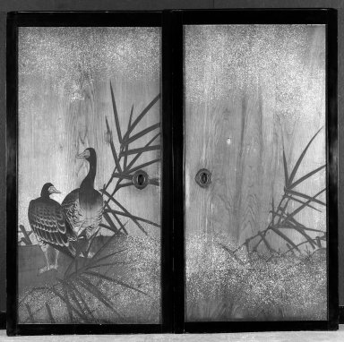 Mori Ippo (Japanese, 1798-1891). <em>Geese and Herons</em>, ca. 1870. A pair of double-sided sliding doors, ink and color on cryptomeria wood, Overall: 69 5/8 x 72 in. (176.8 x 182.9 cm). Brooklyn Museum, Designated Purchase Fund, 77.213.1-.2. Creative Commons-BY (Photo: Brooklyn Museum, 77.213.1_77.213.2_front_bw.jpg)