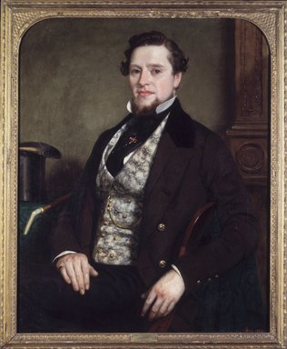 Seymour Joseph Guy (American, 1824-1910). <em>Portrait of a Gentleman</em>, 1855. Oil on canvas, 35 5/8 x 28 15/16 in. (90.5 x 73.5 cm). Brooklyn Museum, Designated Purchase Fund, 77.219.1 (Photo: Brooklyn Museum, 77.219.1_transp2647.jpg)