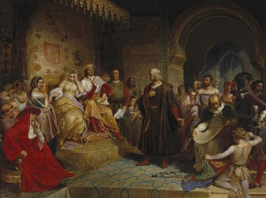 Emanuel Leutze (American, born Germany, 1816-1868). <em>Columbus before the Queen</em>, 1843. Oil on canvas, 38 9/16 x 50 15/16 in. (97.9 x 129.4 cm). Brooklyn Museum, Dick S. Ramsay Fund and Healy Purchase Fund B, 77.220 (Photo: Brooklyn Museum, 77.220_SL1.jpg)