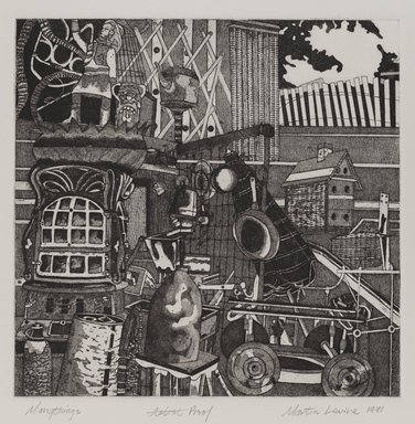 Martin Levine (American, born 1945). <em>Many Things</em>, 1971. Intaglio (etching and aquatint) on paper, sheet: 18 7/8 x 15 in. (47.9 x 38.1 cm). Brooklyn Museum, Gift of Stephen Foster, 77.224.20. © artist or artist's estate (Photo: Brooklyn Museum, 77.224.20_PS4.jpg)