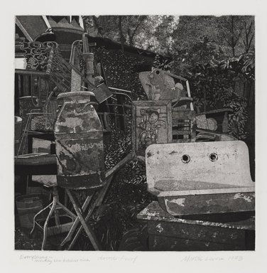 Martin Levine (American, born 1945). <em>Everything, Including the Kitchen Sink</em>, 1973. Intaglio (etching and aquatint) on paper, sheet: 17 x 15 1/8 in. (43.2 x 38.4 cm). Brooklyn Museum, Gift of Stephen Foster, 77.224.24. © artist or artist's estate (Photo: Brooklyn Museum, 77.224.24_PS4.jpg)