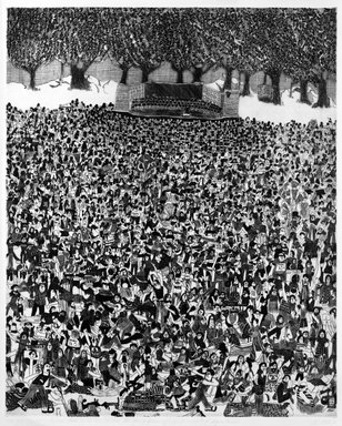 Madeline Poster (American, born 1948). <em>1812 Overture - Central Park with Visitations by Henry Kissinger and Assorted Dignitaries</em>, 1976. Intaglio on paper, sheet: 30 x 22 1/4 in. (76.2 x 56.5 cm). Brooklyn Museum, Designated Purchase Fund, 77.232.1. © artist or artist's estate (Photo: Brooklyn Museum, 77.232.1_bw.jpg)