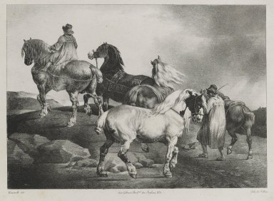 Théodore Géricault (French, 1791-1829). <em>Chevaux Conduits a la Foire</em>, 1822. Crayon lithograph on wove paper, 9 3/4 x 13 3/4 in. (24.8 x 34.9 cm). Brooklyn Museum, Gift of Mr. and Mrs. Carl L. Selden, 77.233.2 (Photo: Brooklyn Museum, 77.233.2_PS6.jpg)