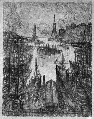 Joseph Pennell (American, 1860-1926). <em>The Harbor, Genoa</em>, 1913. Lithograph, touched with white on brown paper, Image: 13 3/8 x 8 7/8 in. (34 x 22.5 cm). Brooklyn Museum, Designated Purchase Fund, 77.236.3 (Photo: Brooklyn Museum, 77.236.3_bw.jpg)