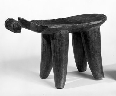 Bwa. <em>Four Legged Stool, Female</em>, late 19th-early 20th century. Wood, 9 1/4 x 5 3/4 x 15in. (23.5 x 14.6 x 38.1cm). Brooklyn Museum, Gift of Mr. and Mrs. Joseph Gerofsky to the Jennie Simpson Educational Collection of African Art, 77.244.2. Creative Commons-BY (Photo: Brooklyn Museum, 77.244.2_bw.jpg)