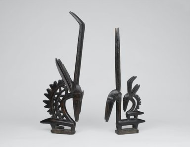 Bamana. <em>Dance Headdress (Ci-wara Kun)</em>, late 19th-early 20th century. Wood, metal, 31 3/4 x 13 1/2 x 2 3/4 in. (80.6 x 34.3 x 7 cm). Brooklyn Museum, Gift of Rosemary and George Lois, 77.245.2. Creative Commons-BY (Photo: , 77.245.1_77.245.2_PS1.jpg)