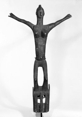 Dogon. <em>Satimbe Mask</em>, late 19th or early 20th century. Wood, fiber, 44 in. (112.8 cm). Brooklyn Museum, Gift of Mr. and Mrs. Milton F. Rosenthal, 77.246.1. Creative Commons-BY (Photo: Brooklyn Museum, 77.246.1_front_bw.jpg)
