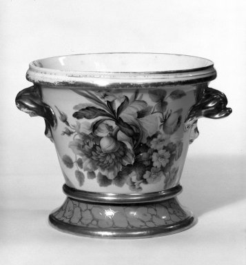 <em>Flower Pot with Stand</em>, ca. 1825. Porcelain, 5 1/2 x 4 7/8 x 4 7/8 in. (14 x 12.4 x 12.4 cm). Brooklyn Museum, Gift of Isabel Shults, 77.255.1a-b. Creative Commons-BY (Photo: Brooklyn Museum, 77.255.1a-b_bw.jpg)