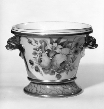 <em>Flower Pot with Stand</em>, ca. 1825. Porcelain, 5 1/2 x 4 7/8 x 4 7/8 in. (14 x 12.4 x 12.4 cm). Brooklyn Museum, Gift of Isabel Shults, 77.255.2a-b. Creative Commons-BY (Photo: Brooklyn Museum, 77.255.2a-b_bw.jpg)