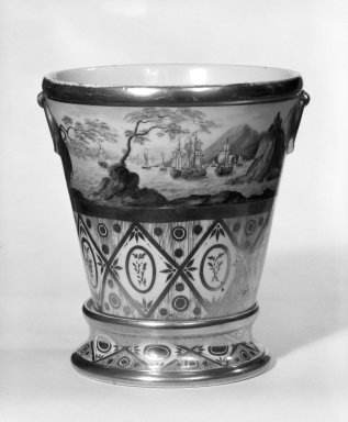 <em>Flower Pot with Stand</em>, 1820-1830. Porcelain with polychrome and gilt decoration, 6 1/2 x 5 5/8 x 5 5/8 in. (16.5 x 14.3 x 14.3 cm). Brooklyn Museum, Gift of Isabel Shults, 77.255.3a-b. Creative Commons-BY (Photo: Brooklyn Museum, 77.255.3a-b_bw.jpg)