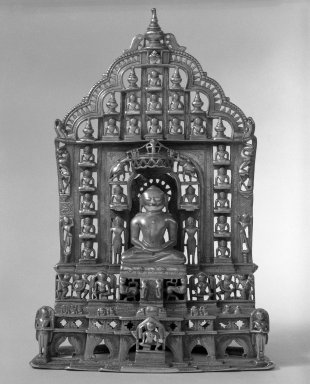 <em>Jain Altar</em>, 1472 (Samvat 1529). Brass inlaid with silver and copper, 11 3/4 x 6 1/2 in. (29.8 x 16.5 cm). Brooklyn Museum, Gift of Anthony A. Manheim, 77.262.3. Creative Commons-BY (Photo: Brooklyn Museum, 77.262.3_front_bw.jpg)