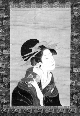 <em>Hanging Scroll: Bust Portrait of a Courtesan</em>, mid-19th century. Hanging scroll, ink and color on paper, Image: 22 3/4 x 14 in. (57.8 x 35.6 cm). Brooklyn Museum, Gift of Mr. and Mrs. Peter P. Pessutti, 77.264.1 (Photo: Brooklyn Museum, 77.264.1_bw_IMLS.jpg)