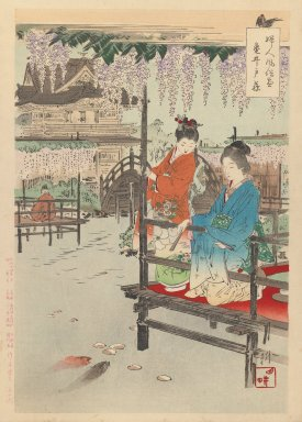 Ogata Gekko (Japanese, 1859-1920). <em>Wisteria at Kameido, from the series An Assortment of Women's Customs</em>, 1891. Color woodblock print on paper, 14 1/2 x 10 in. (36.8 x 25.4 cm). Brooklyn Museum, Gift of Mr. and Mrs. Peter P. Pessutti, 77.264.3 (Photo: Brooklyn Museum, 77.264.3_IMLS_PS3.jpg)