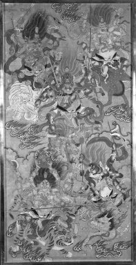 <em>Five Protective Deities</em>, 17th century. Ink and color on silk, 54 1/2 x 26 in. (138.4 x 66 cm). Brooklyn Museum, Gift of Doris and Ed Wiener, 77.265 (Photo: Brooklyn Museum, 77.265_bw_IMLS.jpg)