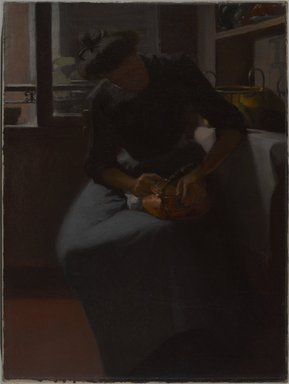 Minerva Josephine Chapman (American, 1858-1947). <em>Woman Polishing a Kettle</em>, ca. 1912. Oil on canvas, 24 x 18 1/16 in. (61 x 45.8 cm). Brooklyn Museum, Gift of Mr. and Mrs. Morse G. Dial, Jr., 77.267 (Photo: , 77.267_PS9.jpg)