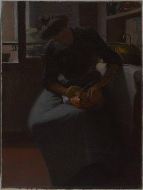 Minerva Josephine Chapman (American, 1858-1947). <em>Woman Polishing a Kettle</em>, ca. 1912. Oil on canvas, 24 x 18 1/16 in. (61 x 45.8 cm). Brooklyn Museum, Gift of Mr. and Mrs. Morse G. Dial, Jr., 77.267 (Photo: Brooklyn Museum, 77.267_PS9.jpg)