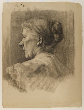Minerva Josephine Chapman (American, 1858-1947). <em>Woman in Profile</em>, n.d. Charcoal on cream, medium-weight, moderately textured laid paper with two watermarks, Sheet: 22 1/8 x 16 3/4 in. (56.2 x 42.5 cm). Brooklyn Museum, Gift of Mr. and Mrs. Morse G. Dial, Jr., 77.272. © artist or artist's estate (Photo: Brooklyn Museum, 77.272_IMLS_PS4.jpg)