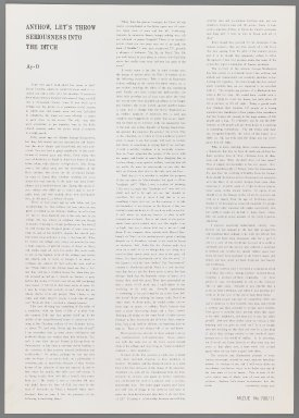 Ay-O (Japanese, born 1931). <em>Introductory Text</em>, 1971. printed text, Sheet: 20 7/8 x 14 3/4 in. (53 x 37.5 cm). Brooklyn Museum, Gift of Mr. and Mrs. Robert L. Poster, 77.279.12. © artist or artist's estate (Photo: Brooklyn Museum, 77.279.12_IMLS_PS3.jpg)