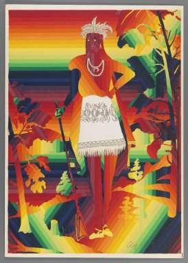 Ay-O (Japanese, born 1931). <em>Oneida Chieftain Shikellamy</em>, 1971. Color serigraph, Sheet: 20 7/8 x 14 3/4 in. (53 x 37.5 cm). Brooklyn Museum, Gift of Mr. and Mrs. Robert L. Poster, 77.279.1. © artist or artist's estate (Photo: Brooklyn Museum, 77.279.1_IMLS_PS3.jpg)