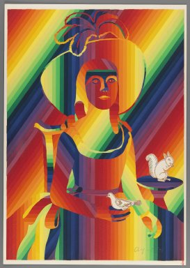 Ay-O (Japanese, born 1931). <em>Miss Denison</em>, 1971. Color serigraph, Sheet: 20 7/8 x 14 3/4 in. (53 x 37.5 cm). Brooklyn Museum, Gift of Mr. and Mrs. Robert L. Poster, 77.279.4. © artist or artist's estate (Photo: Brooklyn Museum, 77.279.4_IMLS_PS3.jpg)
