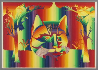 Ay-O (Japanese, born 1931). <em>The Cat</em>, 1971. Color serigraph, Sheet: 14 3/4 x 20 7/8 in. (37.5 x 53 cm). Brooklyn Museum, Gift of Mr. and Mrs. Robert L. Poster, 77.279.6. © artist or artist's estate (Photo: Brooklyn Museum, 77.279.6_IMLS_PS3.jpg)