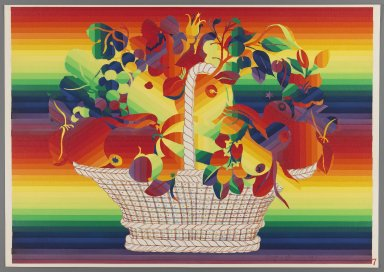 Ay-O (Japanese, born 1931). <em>Basket of Fruit with Flowers</em>, 1971. Color serigraph, Sheet: 14 3/4 x 20 7/8 in. (37.5 x 53 cm). Brooklyn Museum, Gift of Mr. and Mrs. Robert L. Poster, 77.279.7. © artist or artist's estate (Photo: Brooklyn Museum, 77.279.7_IMLS_PS3.jpg)