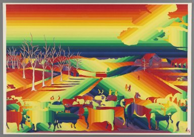 Ay-O (Japanese, born 1931). <em>The Cornell Farm</em>, 1971. Color serigraph, Sheet: 14 3/4 x 20 7/8 in. (37.5 x 53 cm). Brooklyn Museum, Gift of Mr. and Mrs. Robert L. Poster, 77.279.8. © artist or artist's estate (Photo: Brooklyn Museum, 77.279.8_IMLS_PS3.jpg)