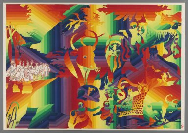 Ay-O (Japanese, born 1931). <em>Peaceable Kingdom</em>, 1971. Color serigraph, Sheet: 14 3/4 x 20 7/8 in. (37.5 x 53 cm). Brooklyn Museum, Gift of Mr. and Mrs. Robert L. Poster, 77.279.9. © artist or artist's estate (Photo: Brooklyn Museum, 77.279.9_IMLS_PS3.jpg)