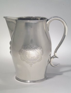 Philip Clapp (1802-1808). <em>Pitcher</em>, ca. 1805. Engraved silver, 8 5/8 x 4 1/2 in. (21.9 x 11.4 cm). Brooklyn Museum, Gift of Mrs. Remsen Johnson, Jr., in memory of her husband, Remsen Johnson, Jr., and her sister-in-law, Dorothy Remsen Johnson von Goeben, 77.44. Creative Commons-BY (Photo: Brooklyn Museum, 77.44_transp2657.jpg)