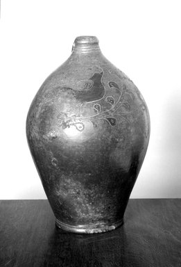 American. <em>Jug</em>, 1790-1810. Earthenware, 14 1/2 x 9 7/8 x 9 3/4 in. (36.8 x 25.1 x 24.8 cm). Brooklyn Museum, Gift of Allison C. Paulsen in memory of Arthur W. Clement, 77.45.1. Creative Commons-BY (Photo: Brooklyn Museum, 77.45.1_bw.jpg)