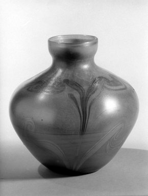 Tiffany Studios (1902-1932). <em>Vase</em>, ca. 1897-1913. Opalescent glass, 7 1/4 x 7 3/8 x 7 3/8 in. (18.4 x 18.7 x 18.7 cm). Brooklyn Museum, H. Randolph Lever Fund, 77.48.5. Creative Commons-BY (Photo: Brooklyn Museum, 77.48.5_bw.jpg)