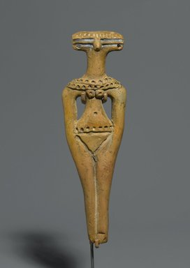 <em>Figurine of a Steatopygous Female</em>, ca. 1630-1539 B.C.E. Clay, 4 3/4 x 1 7/16 x 9/16 in. (12 x 3.7 x 1.5 cm). Brooklyn Museum, Charles Edwin Wilbour Fund, 77.49. Creative Commons-BY (Photo: Brooklyn Museum, 77.49_PS2.jpg)