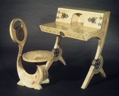 Carlo Bugatti (1855-1940). <em>Cobra Chair</em>, 1902. Wood frame, painted parchment covering, height (overall): 34 7/8 in. (88.5 cm). Brooklyn Museum, Gift of Mr. and Mrs. Alastair B. Martin, the Guennol Collection, 77.4. Creative Commons-BY (Photo: , 77.4_71.74.jpg)