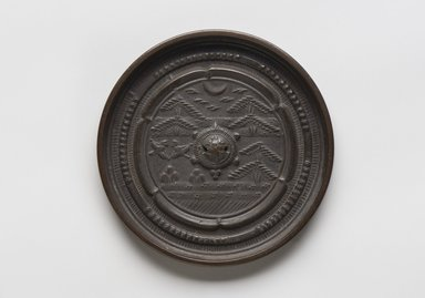 <em>Mirror</em>, 15th-16th century. Bronze, 3/8 x 4 7/16 in. (1 x 11.3 cm). Brooklyn Museum, Designated Purchase Fund, 77.55.2. Creative Commons-BY (Photo: Brooklyn Museum, 77.55.2_PS11.jpg)