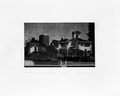 Martin Levine (American, born 1945). <em>The Pardee House, Oakland, CA.</em>, 1976. Intaglio on paper, sheet: 11 x 14 in. (27.9 x 35.6 cm). Brooklyn Museum, Gift of ADI Gallery, 77.62.4. © artist or artist's estate (Photo: Brooklyn Museum, 77.62.4_bw.jpg)