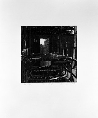 Martin Levine (American, born 1945). <em>The Barn</em>, 1974. Intaglio on paper, sheet: 22 x 18 1/2 in. (55.9 x 47 cm). Brooklyn Museum, Gift of ADI Gallery, 77.62.5. © artist or artist's estate (Photo: Brooklyn Museum, 77.62.5_bw.jpg)