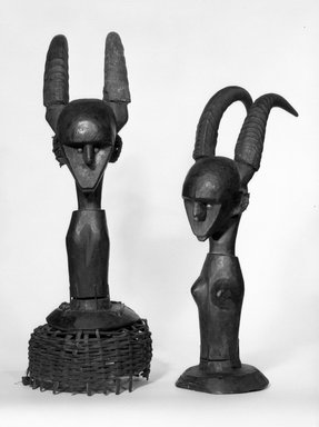 Possibly Marka. <em>Dance Headdress (Ci-wara)</em>, late 19th-early 20th century. Wood, 19 3/4 x 6 3/4 x 8 3/4 in. (50.2 x 17.1 x 22.2 cm). Brooklyn Museum, Gift of Elliot Picket, 77.82.2. Creative Commons-BY (Photo: , 77.82.2_77.82.3_bw.jpg)