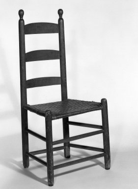 Shaker Community. <em>Chair</em>, 1830-1870. Pine, 37 x 17 1/2 x 13 1/2 in. (94 x 44.5 x 34.3 cm). Brooklyn Museum, Gift of Mrs. Oscar Bernstien, 77.84.3. Creative Commons-BY (Photo: Brooklyn Museum, 77.84.3_bw_IMLS.jpg)