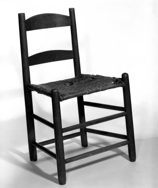 Shaker Community. <em>Side Chair</em>, ca. 1830-1870. Pine, 30 x 19 x 14 in. (76.2 x 48.3 x 35.6 cm). Brooklyn Museum, Gift of Mrs. Oscar Bernstien, 77.84.5. Creative Commons-BY (Photo: Brooklyn Museum, 77.84.5_bw_IMLS.jpg)