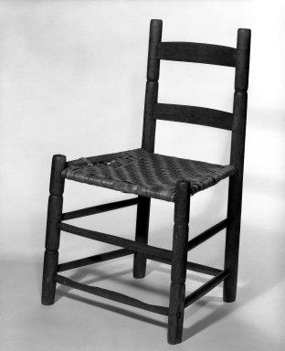 Shaker Community. <em>Side Chair</em>, ca. 1830-1870. Pine, 30 3/4 x 19 x 14 1/4 in. (78.1 x 48.3 x 36.2 cm). Brooklyn Museum, Gift of Mrs. Oscar Bernstien, 77.84.6. Creative Commons-BY (Photo: Brooklyn Museum, 77.84.6_bw_IMLS.jpg)