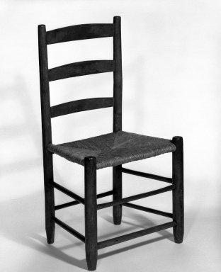 Shaker Community. <em>Side Chair</em>, ca. 1830-1870. Pine, 33 3/8 x 17 1/2 x 14 in. (84.8 x 44.5 x 35.6 cm). Brooklyn Museum, Gift of Mrs. Oscar Bernstien, 77.84.7. Creative Commons-BY (Photo: Brooklyn Museum, 77.84.7_bw_IMLS.jpg)