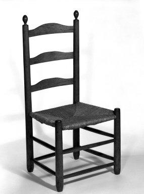 Shaker Community. <em>Side Chair</em>, ca. 1815-1870. Pine, 37 1/2 x 17 3/4 x 14 3/4 in. (95.3 x 45.1 x 37.5 cm). Brooklyn Museum, Gift of Mrs. Oscar Bernstien, 77.84.8. Creative Commons-BY (Photo: Brooklyn Museum, 77.84.8_bw_IMLS.jpg)