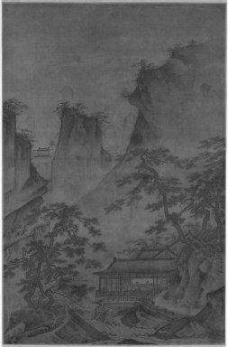 <em>Landscape</em>, 14th century. Hanging scroll, ink and light color on silk, Image: 18 x 11 5/8 in. (45.7 x 29.5 cm). Brooklyn Museum, Designated Purchase Fund, 77.95 (Photo: Brooklyn Museum, 77.95_bw_IMLS.jpg)