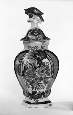 <em>One of Five-Piece vase garniture</em>, ca. 1780. Earthenware, tin-glazed, Height (with lid): 12 3/4 in. (32.4 cm). Brooklyn Museum, Gift of Nat Bass, 78.1.1a-b. Creative Commons-BY (Photo: Brooklyn Museum, 78.1.1_bw.jpg)