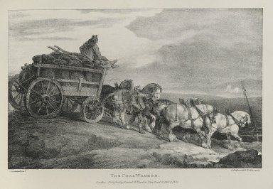 Théodore Géricault (French, 1791-1829). <em>The Coal Waggon</em>, 1821. Lithograph on wove paper, 7 3/4 x 12 1/4 in. (19.7 x 31.1 cm). Brooklyn Museum, Henry L. Batterman Fund, 78.107 (Photo: Brooklyn Museum, 78.107_PS6.jpg)